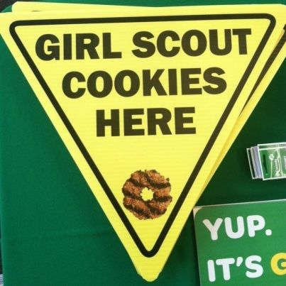 """Cookie Yield Sign  Show how much you love Girl Scout cookies with this awesome yield sign. Great for booth sales or to stand in windows! 18"""" x 18"""" hand-held corrugated plastic sign."""