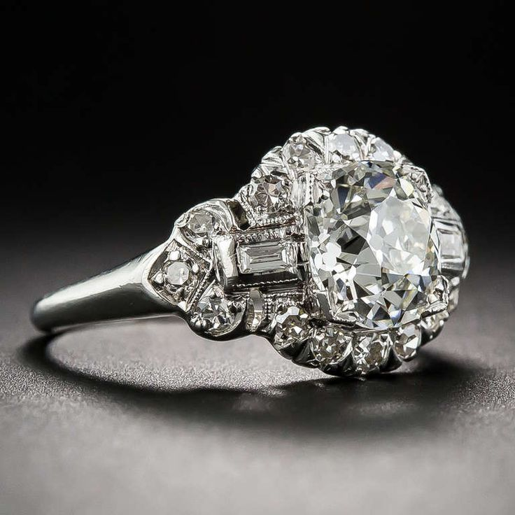 166 carat art deco diamond engagement ring - 1920s Wedding Rings