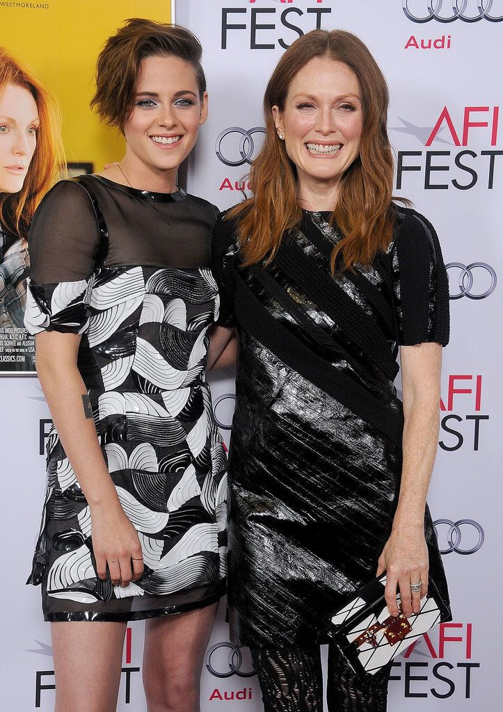 Kristen Stewart Gets Glam and Gushes About Julianne Moore: Kristen Stewart joined her costar Julianne Moore on the red carpet in LA on Wednesday night to attend the AFI Fest premiere of their latest project, Still Alice.