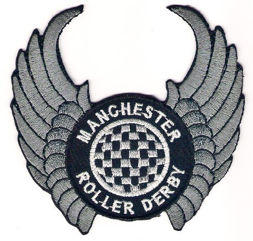 Manchester Roller Derby Logo Sign Symbol Embroidery Embroidered Sew on Iron on Patch Iron-on £2.50.  by E-Thai Iron on Patch, http://www.amazon.com/dp/B0096WOYOQ/ref=cm_sw_r_pi_dp_4Zgxqb1DJ31VE