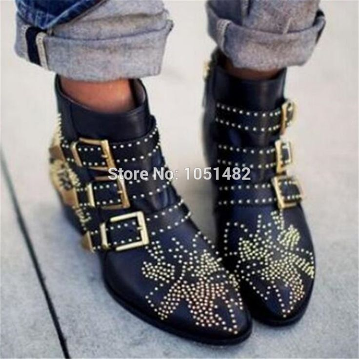 79.80$  Watch here - http://ali0tp.worldwells.pw/go.php?t=32766191968 - Fashion Susanna Studded Women Booties 2017 New Black Red Ladies Shoes Women Autumn Winter Ankle Boots Genuine Leather Rain Botas 79.80$