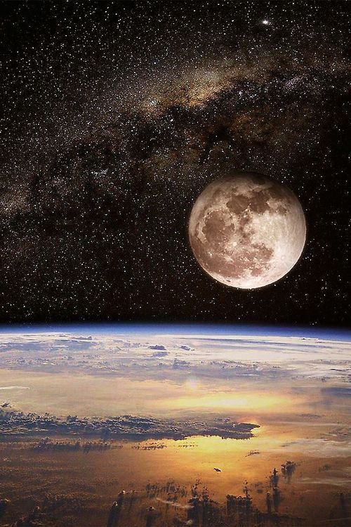 Moon over earth