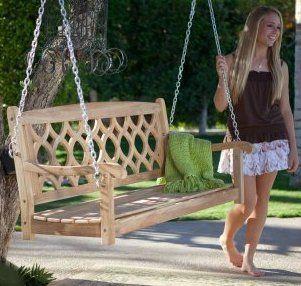 theia teak wood porch swing - Wooden Porch Swings