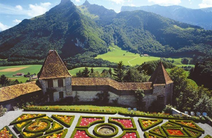 View over Gruyère castle gardens