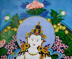 "Vajrasattva- (Vajra Hero, Tib. dorje sempa) ""Dorsem"" is the buddha of purification.  As the  ""action"" or karma protector, he also manifests the energies of all Buddhas."
