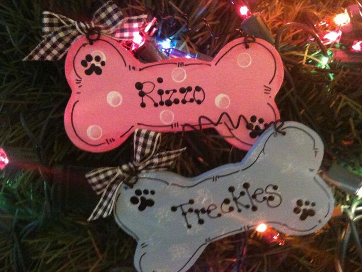 Dog Bone personalized ornament Pet pink or blue Christmas Holiday wooden craft wood sign kennel gift shop. $3.95, via Etsy.