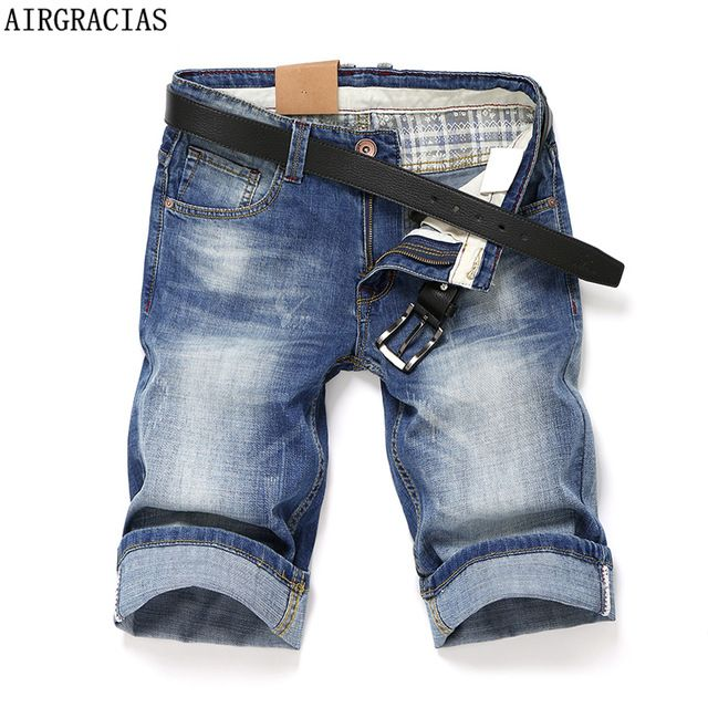Check current price AIRGRACIAS High Quality Short Jeans Men Blue Color Straight Denim Jeans Shorts Mens Jeans Knee Length Brand Bermuda Masculina just only $21.49 with free shipping worldwide  #jeansformen Plese click on picture to see our special price for you