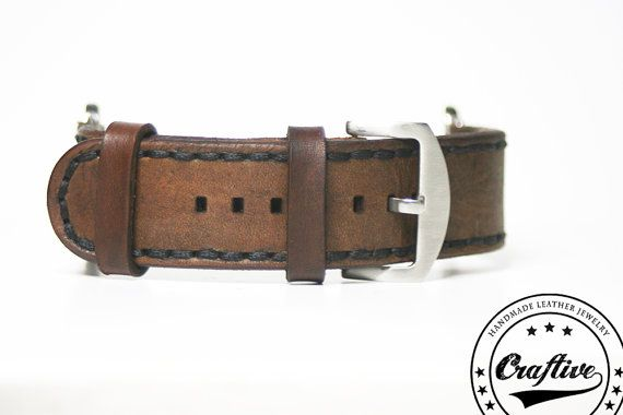 Watch Band 22mm,Watch leather strap,Gift for husband,Smart watch,Gift for man,3th anniversary,gift for men,Craftive Leather,Free shipping  {Measures} Fits 22 mm