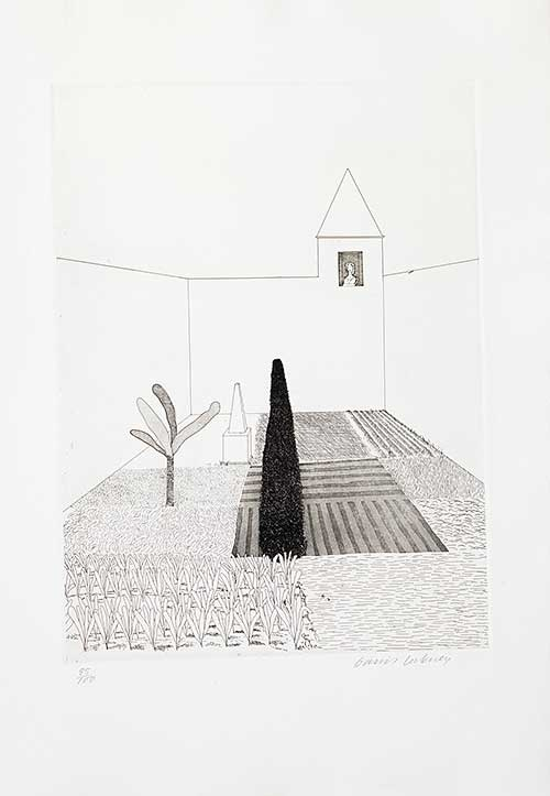 """David Hockney >> Rapunzel Growing in the Garden, from """"Rapunzel"""" in Six Fairy Tales from the Brothers Grimm, 1969, Etching."""