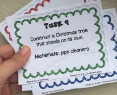 Simple STEAM Christmas tasks that can be completed with basic materials. Four free task cards included. These are great for the week before Christmas break!