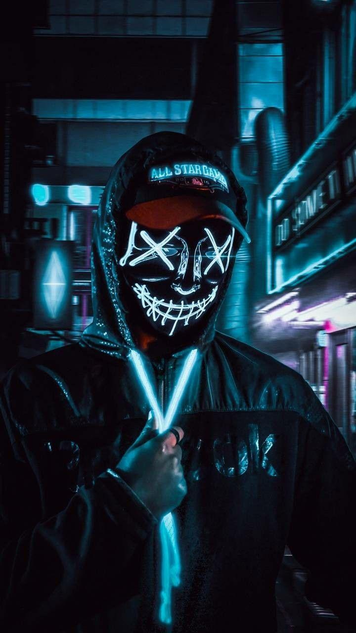 Dark Neon Mask Hd Wallpaper En 2020 Fond D Ecran Telephone Fond D Ecran Joker Fond D Ecran Colore