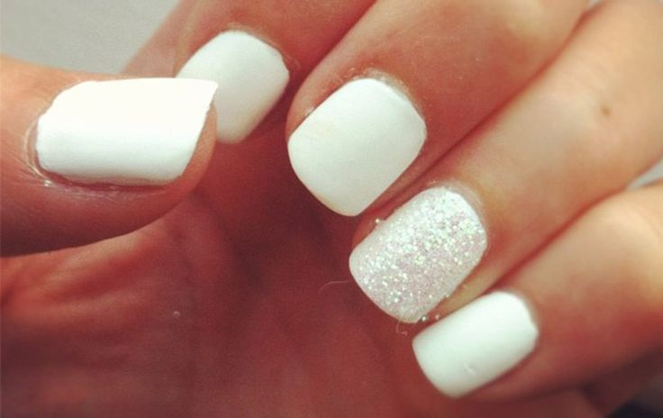 Bright White With Sparkly Accent   Bridal Manicure Top 14 Wedding Bridal Manicure Ideas