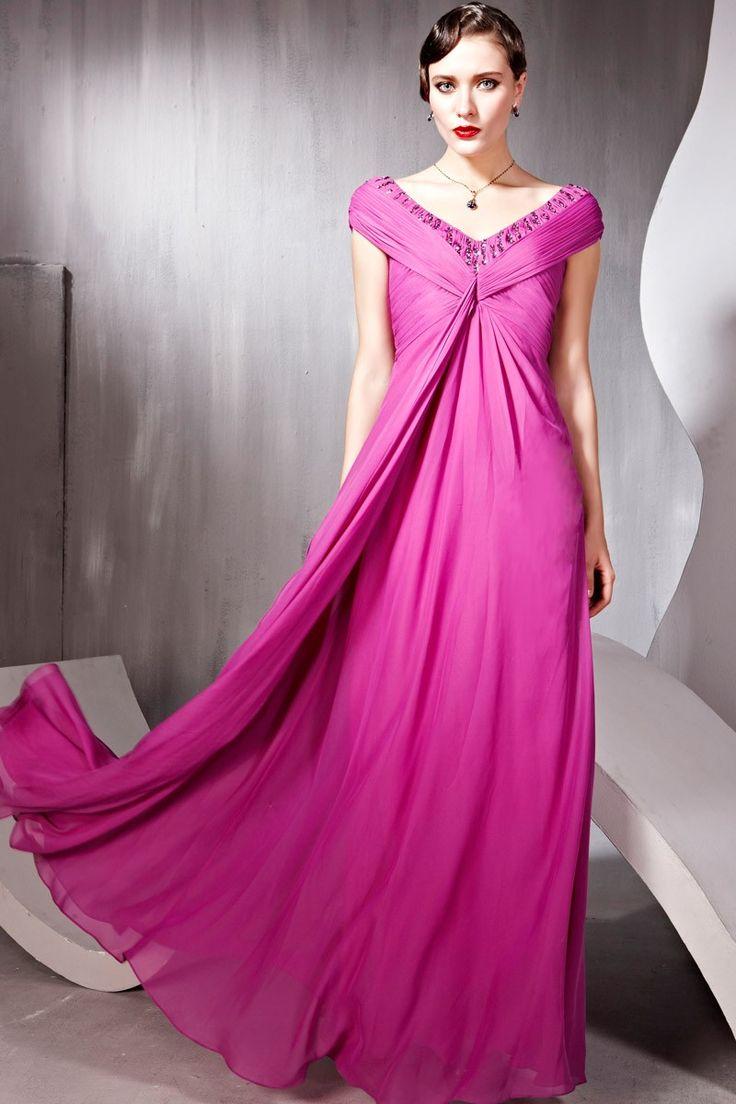 Purple V-neck Sheath/Column Ball Gowns