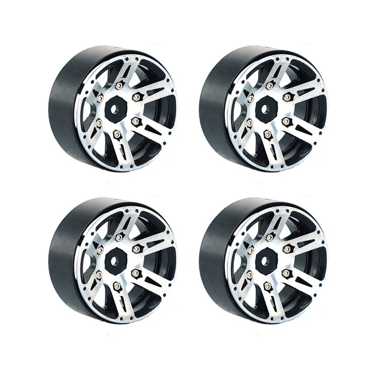 4PCS RC Rock Crawler 1:10 Alloy Metal Wheel Rim 1.9 Inch BEADLOCK for 1/10 Axial SCX10 90046 TAMIYA CC01 RC4WD D90 D110 RC Car