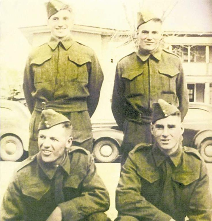 "The Canadian Winnipeg Grenadiers in the Battle of Hong Kong 1941. Lance Cpl. William Bell (bottom right). His brother, Gordon Bell, (top left) died in a POW camp. Friend Denis Matthews (bottom left) died in battle and his brother, Norman Matthews, (top right) died in POW camp. Dennis Bell, William's son, said ""they were the first soldiers to go into battle and the last to come back home."