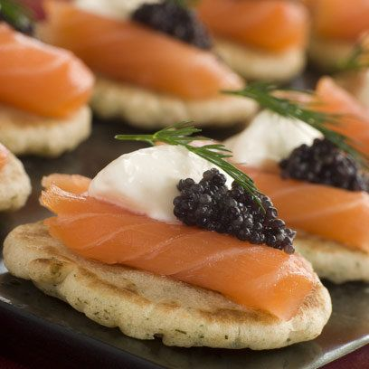 Norwegian smoked salmon blinis