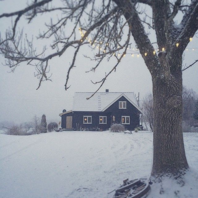 A frosty farm waking up to a blanket of white snow.