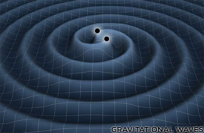 This image shows a computer simulation of the gravitational waves generated by 2 closely-orbiting black holes.