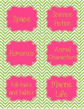 Book Basket Labels (Chevron)