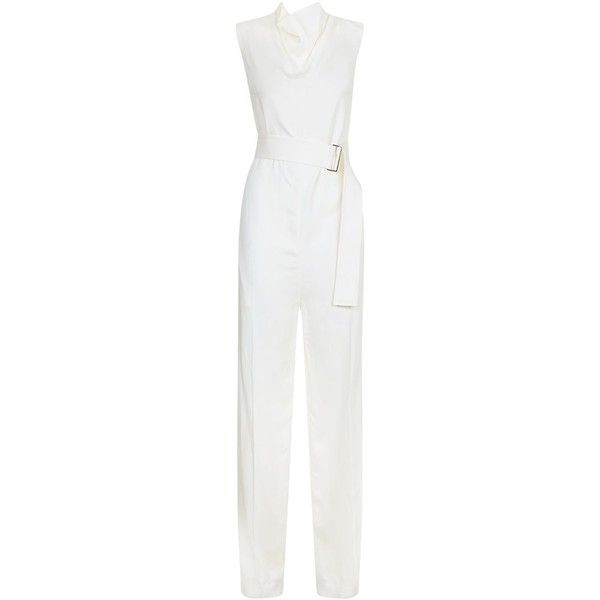 Victoria Beckham Drape Jumpsuit ($1,795) ❤ liked on Polyvore featuring jumpsuits, evening jumpsuits, draped jumpsuit, special occasion jumpsuits, wide leg jumpsuit and white jump suit