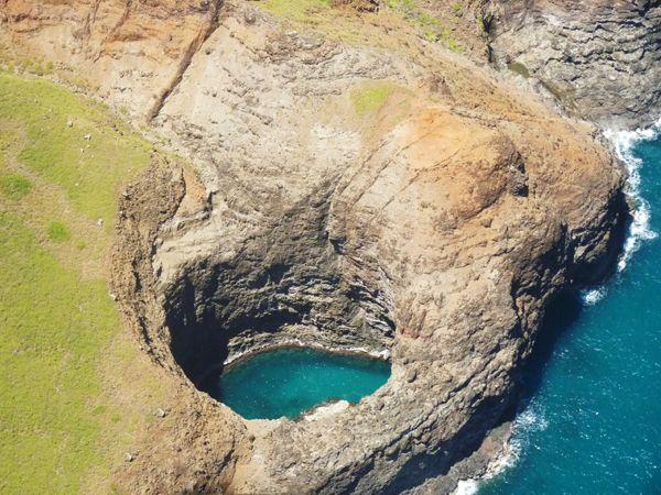 Ariel view of the Sea Cave, Na Pali coast, Kauai, Hawaii