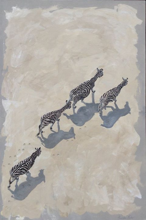 'Never walk alone'. (Zebras crossing a salt pan in Namibia) Oi...