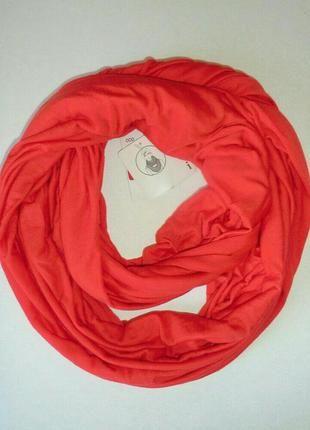 Весенне-летний трикотажный шарф хомут, снуд кораллового цвета из германии. (C