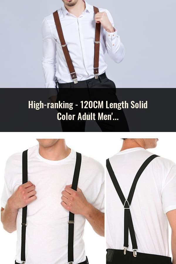 Mens Y Back Elastic Adjustable Solid Color Suspenders Braces and 4 Leather Clips