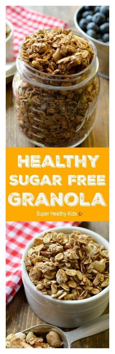 Healthy Sugar Free Granola. We were able to get this granola crunchy, even without adding any sugar at all! www.superhealthyk...