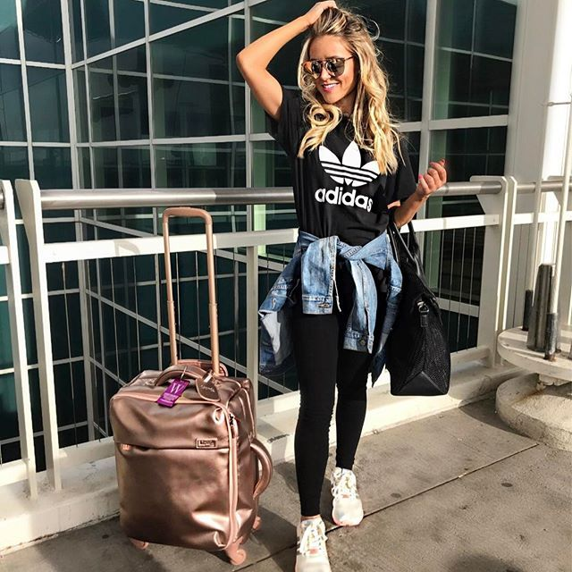 My go-to travel look | Every Once in a Style | #Regram via @everyonceinastyle | Travel Style//Adidas Shirt//Jean Jacket//Denim Jacket//Rose Gold Luggage//Gold Sunglasses//Travel Outfit