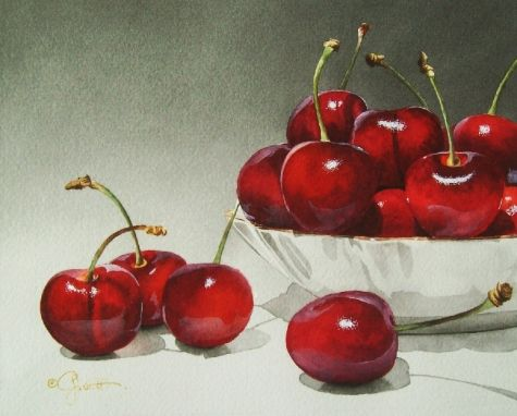 Porcelain Bowl with Cherries, painting by artist Jacqueline Gnott