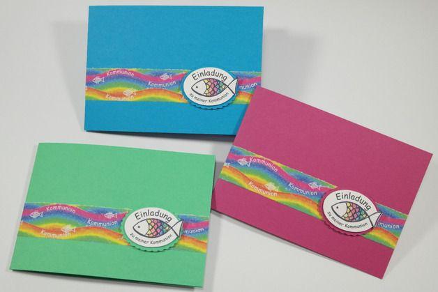 Einladung Kommunion  Fisch Regenbogen