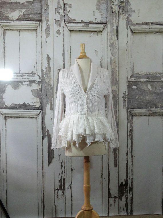 Fairy lace Cardigan Sweater Upcycled Clothing Boho Chic Shabby Chic White Cotton…