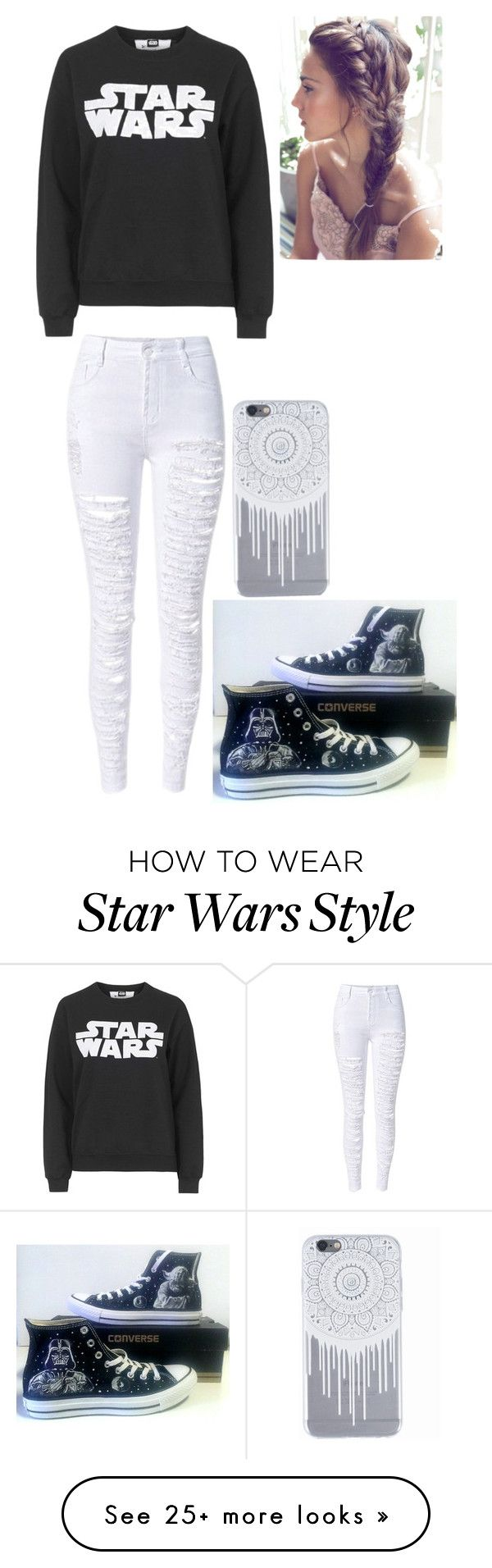 """STAR WARS"" by chimranm on Polyvore featuring Tee and Cake and Converse"