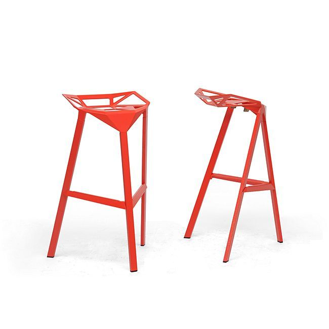 Baxton Studio Kaysa Red Aluminum Modern Bar Stool Mid-century Style s (Set of 2) (Bar Stool-Red), Silver