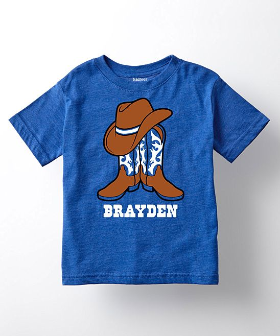 Royal Blue Cowboy Hat & Boots Personalized Tee - Toddler & Kids