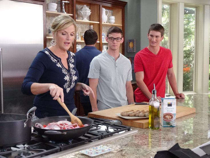 Trisha whipped up a protein-packed meal for her nephew Kyle and his two college friends.