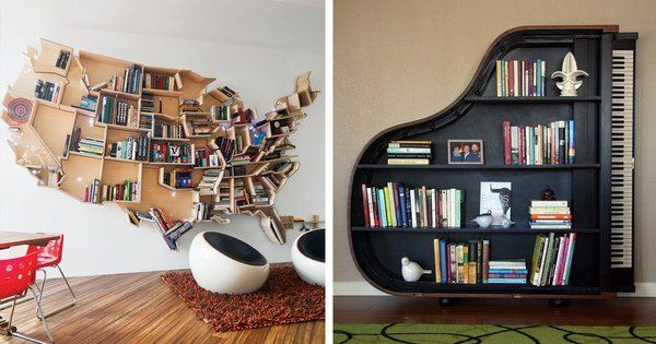 unique-book rack ideas creative bookshelves grand piano upcycling furniture ideas