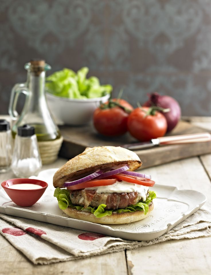 Love #Burgers? Love this Veal and proscuitto burger! Click the image for the full #recipe made with Bertolli Extra Virgin Olive Oil, oh #yum!