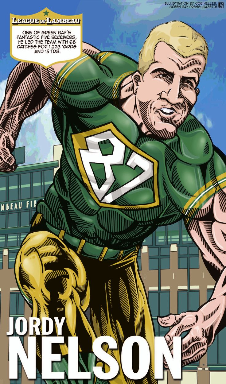 "Jordy Nelson - part of Joe Heller's ""League of Lambeau"" series in the Green Bay Press Gazette"