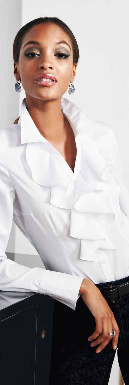 Love white blouses with special features like these ruffles.   LOOKandLOVEwithLOLO: MADELEINE Fall Arrivals