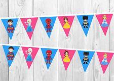 Disney Princess and Marvel Superhero Birthday Banner, Bunting, Decoration, Party