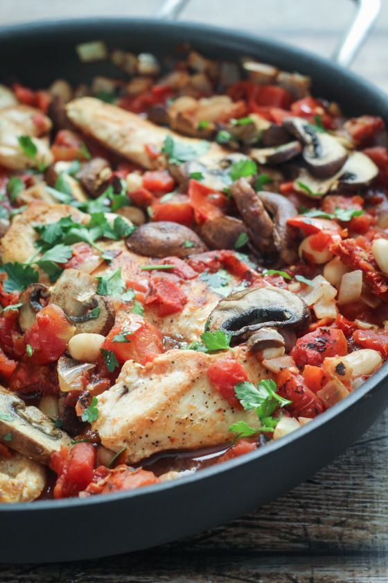 Tuscan Chicken Skillet - the perfect one-pan meal that's a delicious mix of chicken, white beans, tomatoes and herbs. We actually added two cans of beans and this dish went a long way. The sauce thickens with the beans cooking down in the tomatoes, and tastes delicious with crusty bread. Loved this dish.