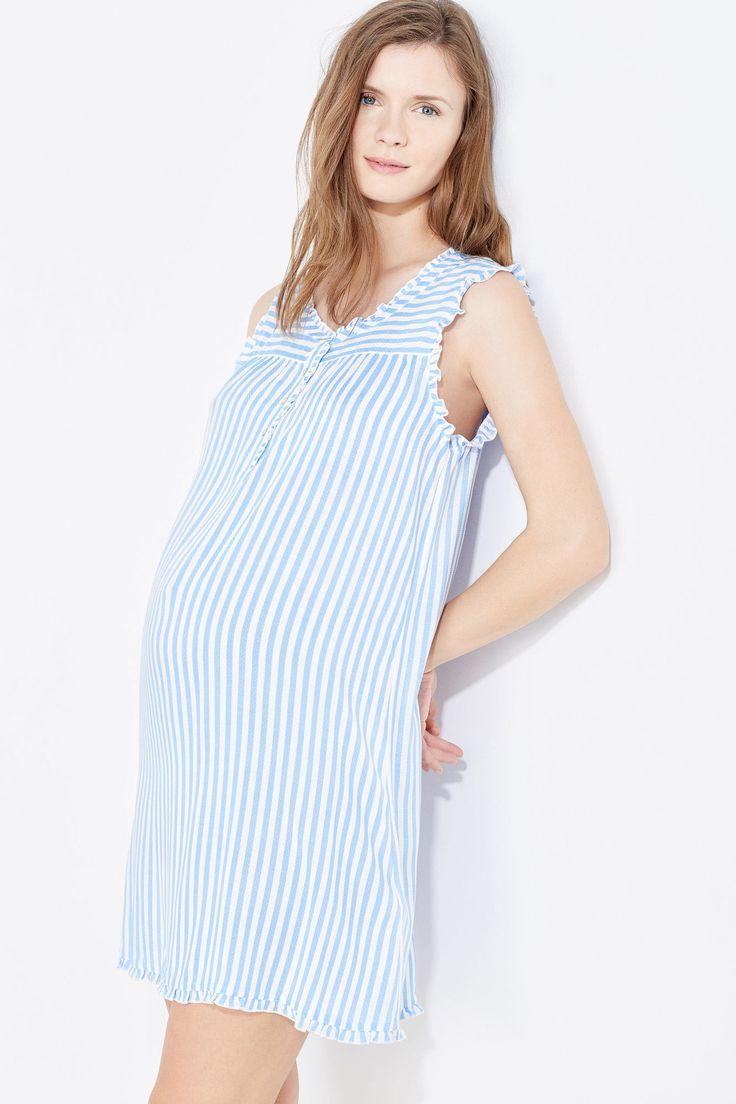 Camisón Maternity clásico de rayas sin mangas, cuello con botones y detalles de encaje. La comodidad que buscas. | Dormir | Women´secret