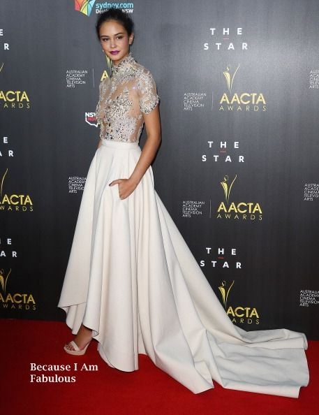 Fabulously Spotted: Courtney Eaton Wearing J'Aton Couture - 3rd Annual AACTA Awards - http://www.becauseiamfabulous.com/2014/01/courtney-eaton-wearing-jaton-couture-3rd-annual-aacta-awards/