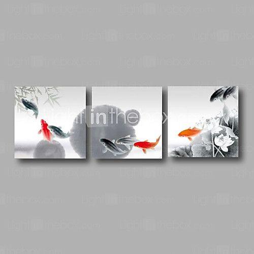 "listo para colgar de 72 ""x24"" tres paneles de arte de la pared de lona nenúfares estirada pintura al óleo pintada a mano grises peces koi 2016 - $104.39"