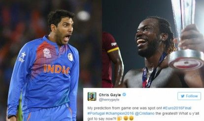 Yuvraj Singh, Chris Gayle & other cricketers celebrate Portugal's win