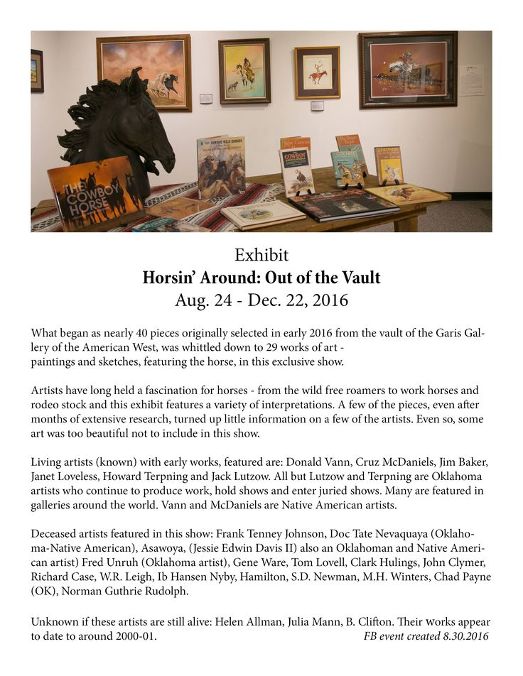 Second event photo and information used for Facebook event promo of the Horsin' Around: Out of the Vault exhibit at Chisholm Trail Heritage Center, Duncan, OK. created and updated 8.30.2016