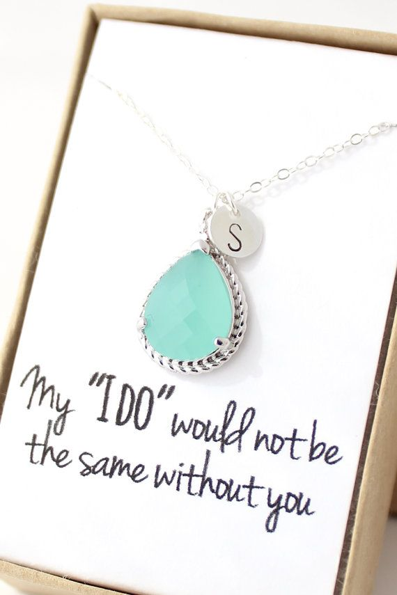 Mint Green Bridesmaid Necklace by ForTheMaids