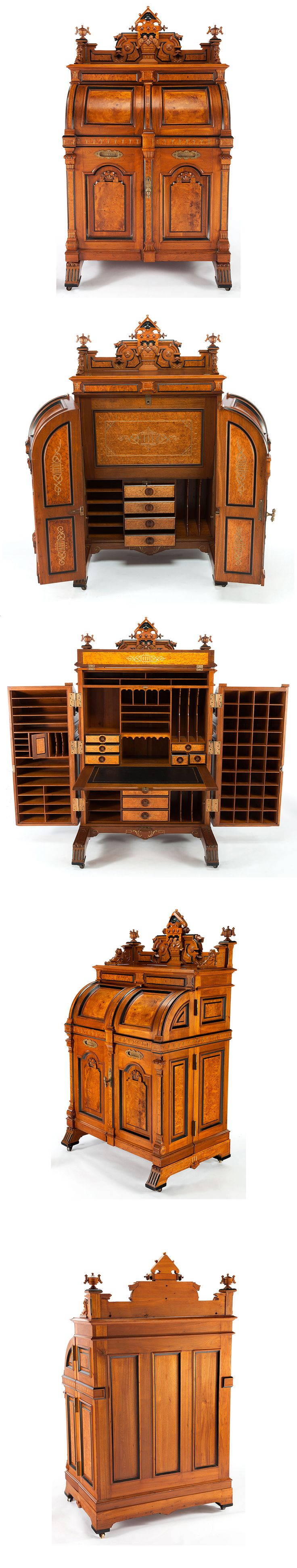 A WOOTEN AMERICAN RENAISSANCE REVIVAL WALNUT PATENT DESK: WOOTEN EXTRA GRADE  Wooten Desk Company, Indianapolis, Indiana, circa 1874  Marks: MANUFACTURED BY THE WOOTEN DESK CO INDIANAPOLIS IND. PAT OCT 6 1874  75 x 46 x 30-1/4 inches (190.5 x 116.8 x 76.8 cm) [Been looking for one of these for ages; this is a very fancy one]